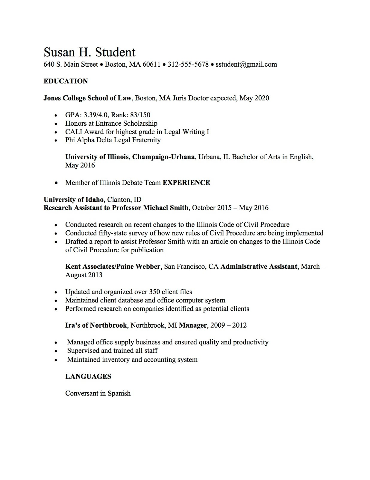 Law School Resume Templates And Samples