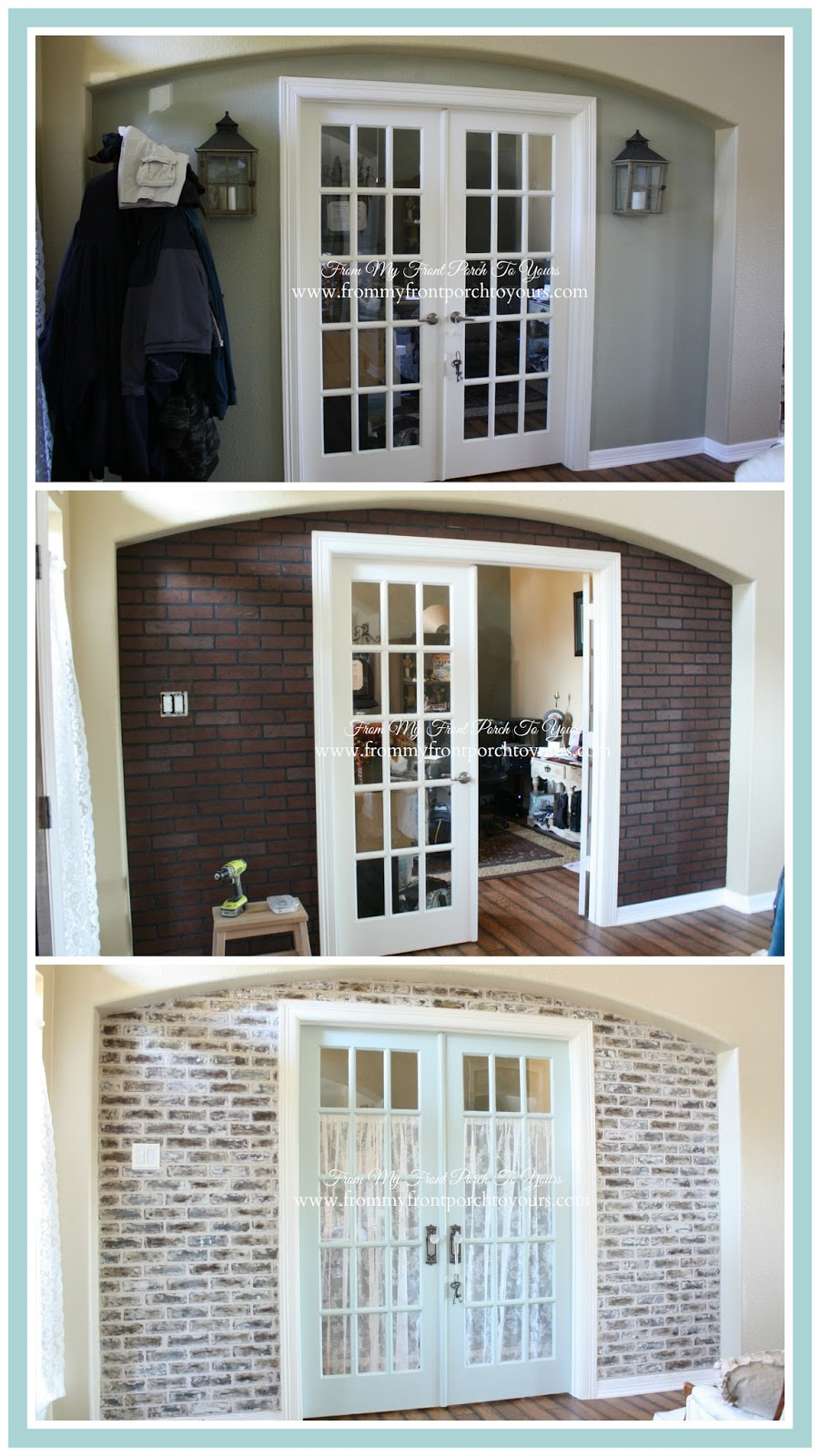 French Farmhouse- DIY Faux Brick Wall- From My Front Porch To Yours