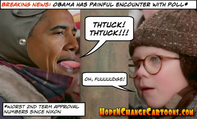 obama, obama jokes, cartoon, stilton jarlsberg, hope n' change, hope and change, conservative, tea party, obamacare, christmas, christmas story, ralphie, tongue, poll, pole