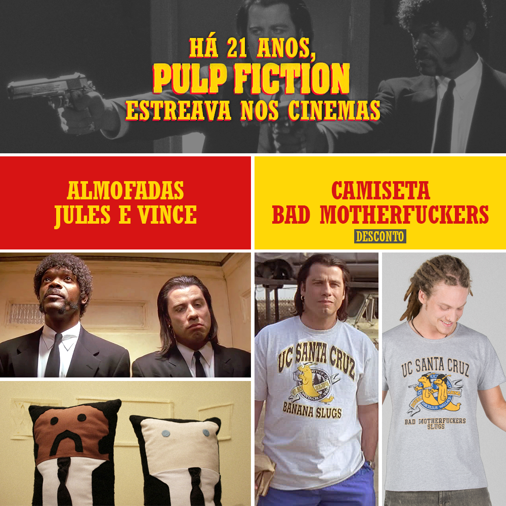 Há 21 anos estreava Pulp Fiction - Almofadas de Jules e Vince e Camiseta na Loja da 365 Filmes