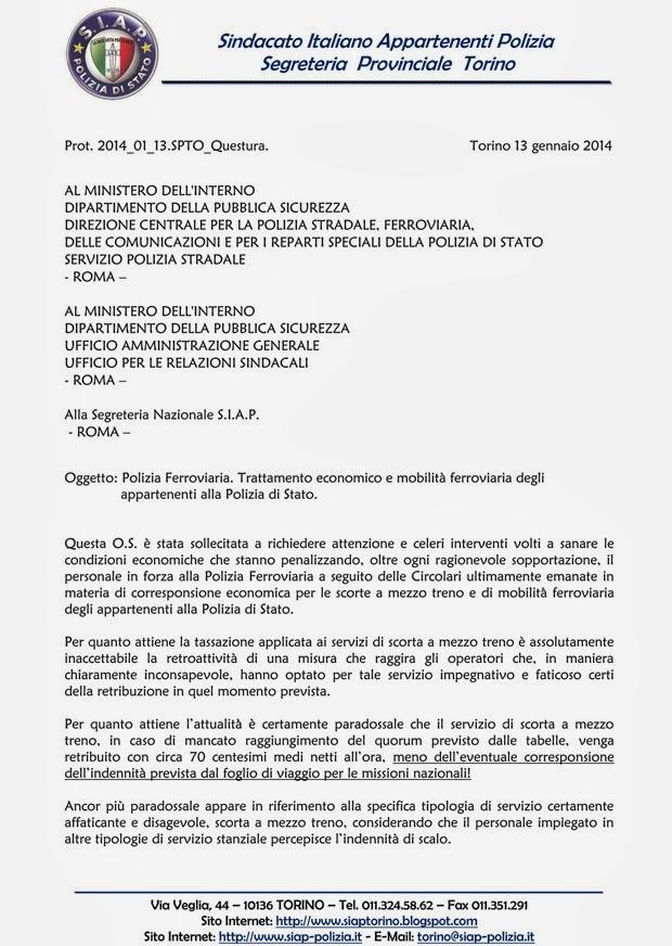 S i a p segreteria provinciale torino gli interventi for I ministero interno
