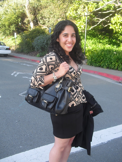 DVF Vintage Print Wrap Top and Black F21 Pencil Skirt