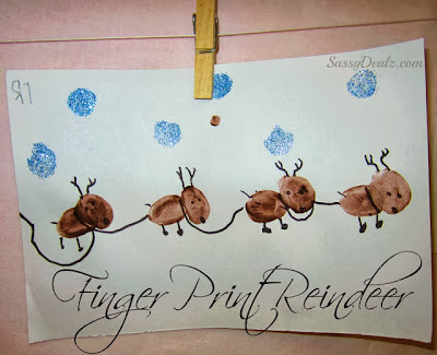 christmas fingerprint crafts for kids reindeer