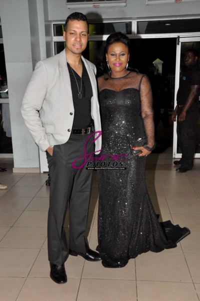 Uche Jombo, Husband at 'My Life, My Damage' Premiere