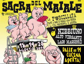 manifesto della sagra del maiale, il bigodino di rosalba, oriana guarino
