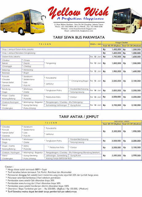 Daftar Harga Sewa Bus Big Bird Daftar Harga Sewa Bus