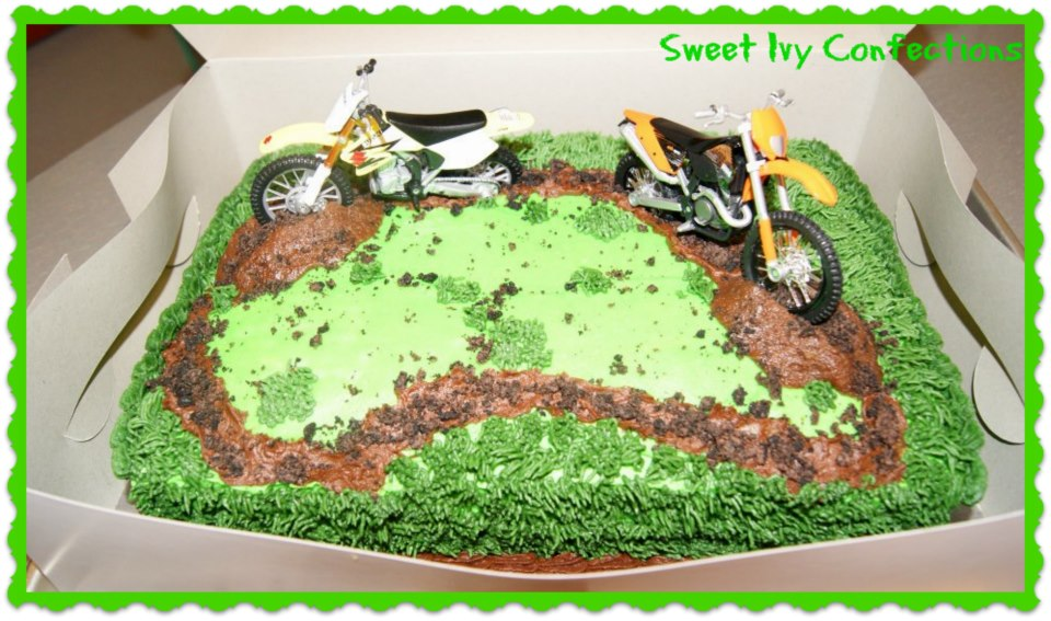 Sweet Ivy Confections Dirt Bike Themed Birthday Cake