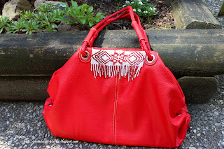 bag with beaded Latvian sign Auseklis