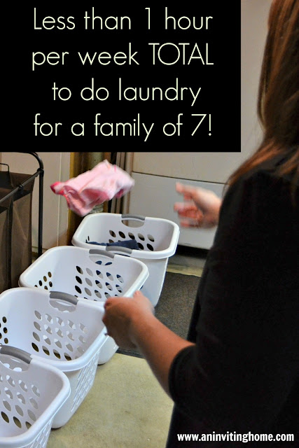 less than 1 hour per week total to do laundry for a family of 7