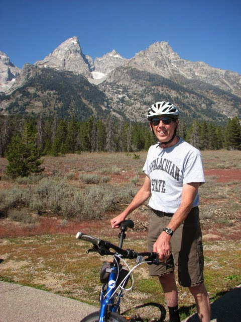 Gary and his bike at the Tetons National Park