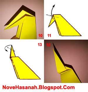 langkah-langkah melipat kertas untuk membentuk bagian leher dan paruh origami burung merak