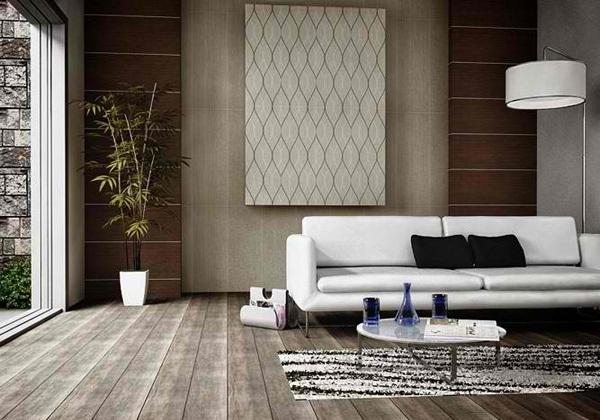 ruang tamu modern kontemporer hitam dan putih rancangan