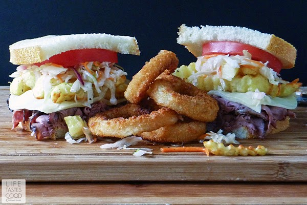 Pittsburgh Style Sandwiches | by Life Tastes Good are a homemade version of that delicious sandwich made famous by the Primanti Bros. #GameTimeGrub #Ad