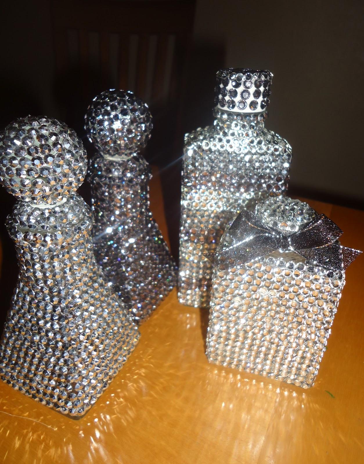 frugal home design diy home decor make rhinestone covered bottles. Black Bedroom Furniture Sets. Home Design Ideas