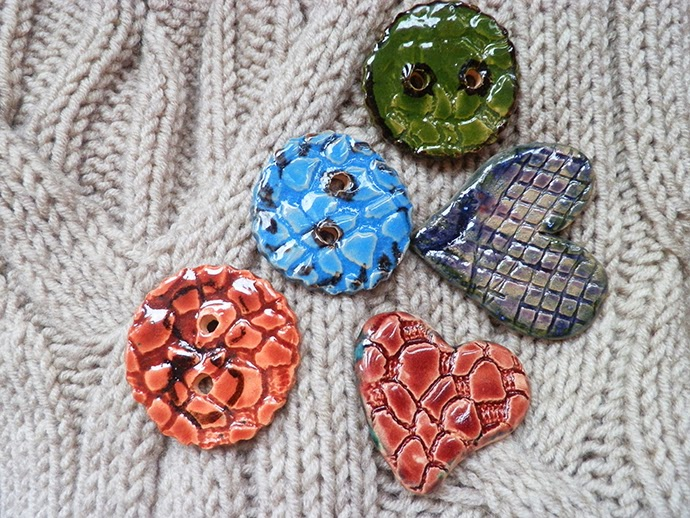 Handmade Ceramic brooches - hearts and buttons