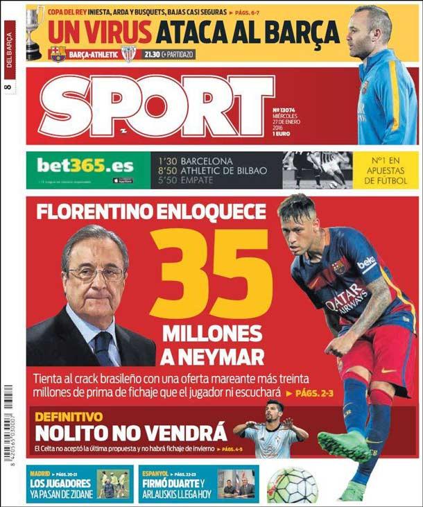 Portada del periódico Sport, miércoles 27 de enero de 2016