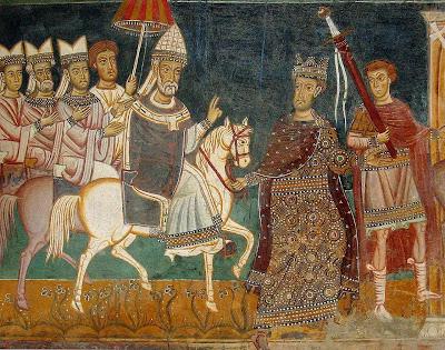 Imperador Constantino conduz São Silvestre I a Roma,  símbolo do triunfo da Igreja que passava a ser oficial e esplendorosa