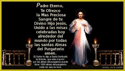 jesus con oracion para las almas benditas en el purgatorio