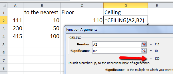 For The CEILING Function We Would Use: