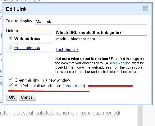 Cara membuat link menjadi nofollow