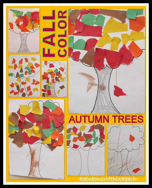 photo of: Torn Construction Paper for Fall Leaf Projects via RainbowsWithinReach