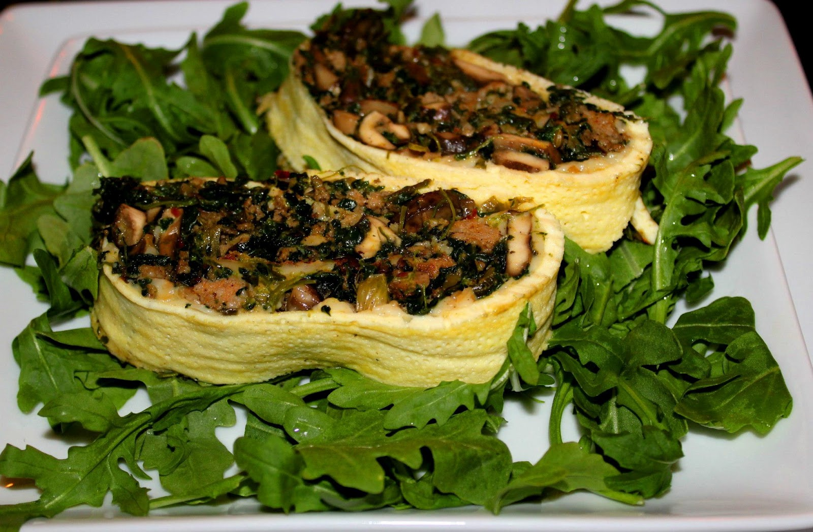 ... Roulade Stuffed with Turkey Sausage, Mushrooms, and Spinach (serves 4