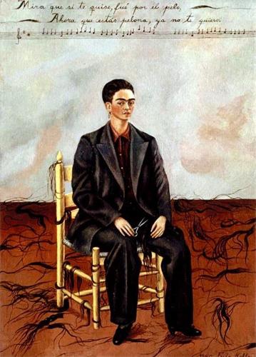 Frida Kahlo autorretrato com traje masculino