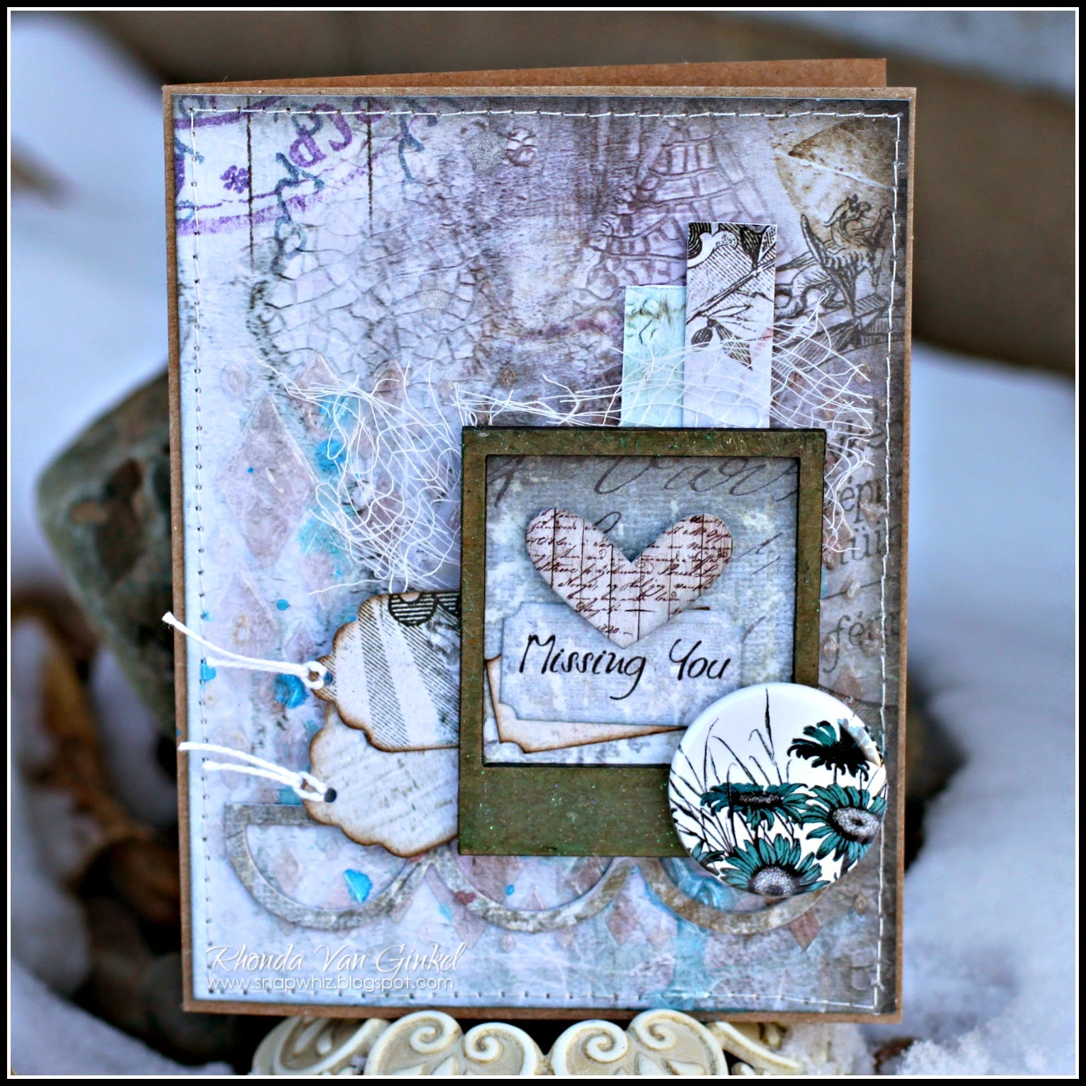 Missing You Card by Rhonda Van Ginkel for UmWowStudio Featuring Miniature Polaroid Frame