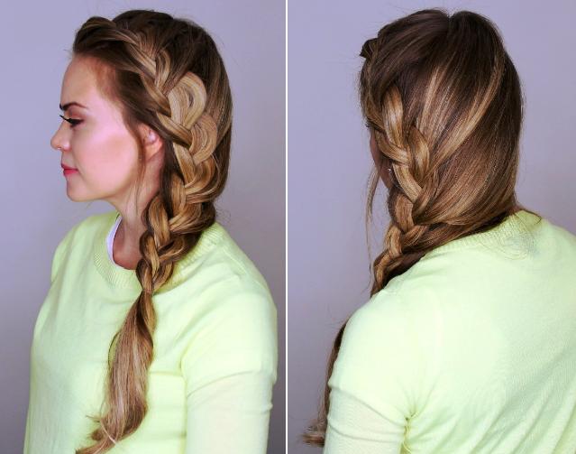 Si observamos las imágenes nos daremos cuenta que sobre la base de tu cabello con unos mechones quedará mejor esta trenza francesa de lado, iluminado tu