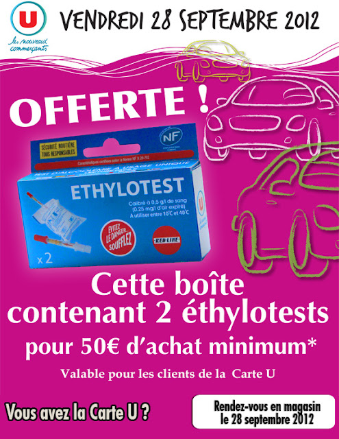 Boîte de 2 Ethylotests gratuite pour 50€ d'achat dans les magasins U