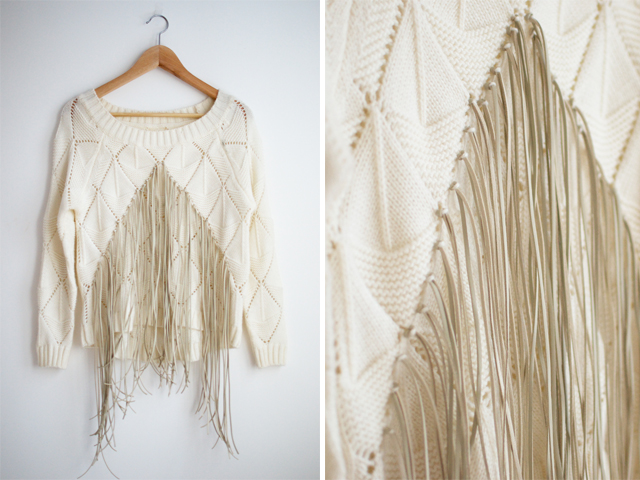 Refashion - sweater com franjas