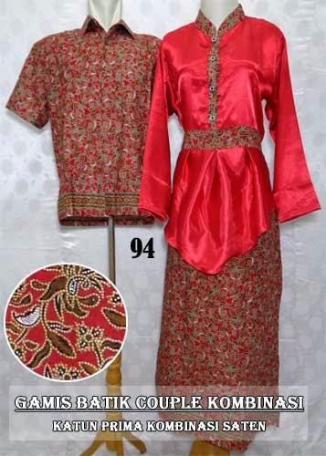 Sarimbit gamis batik pesta model kombinasi