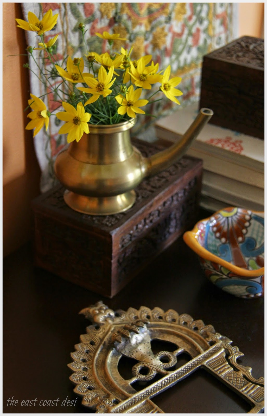 Ganesh chaturthi flowers may flower blog - Pass Up The Regular Glass Vases And Bring In The Traditional Elements At Play For A Festive Environment A Bunch Of Yellow Zagreb S From My Garden Displayed