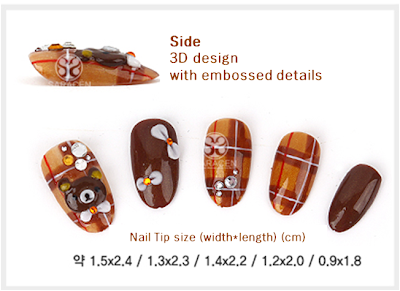 Hand made Nail tips, fall design : Rilakkuma Nail Tips