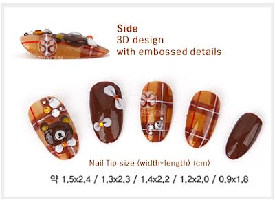 Hand made Nail tips, fall design : Rilakkuma Nail Tips