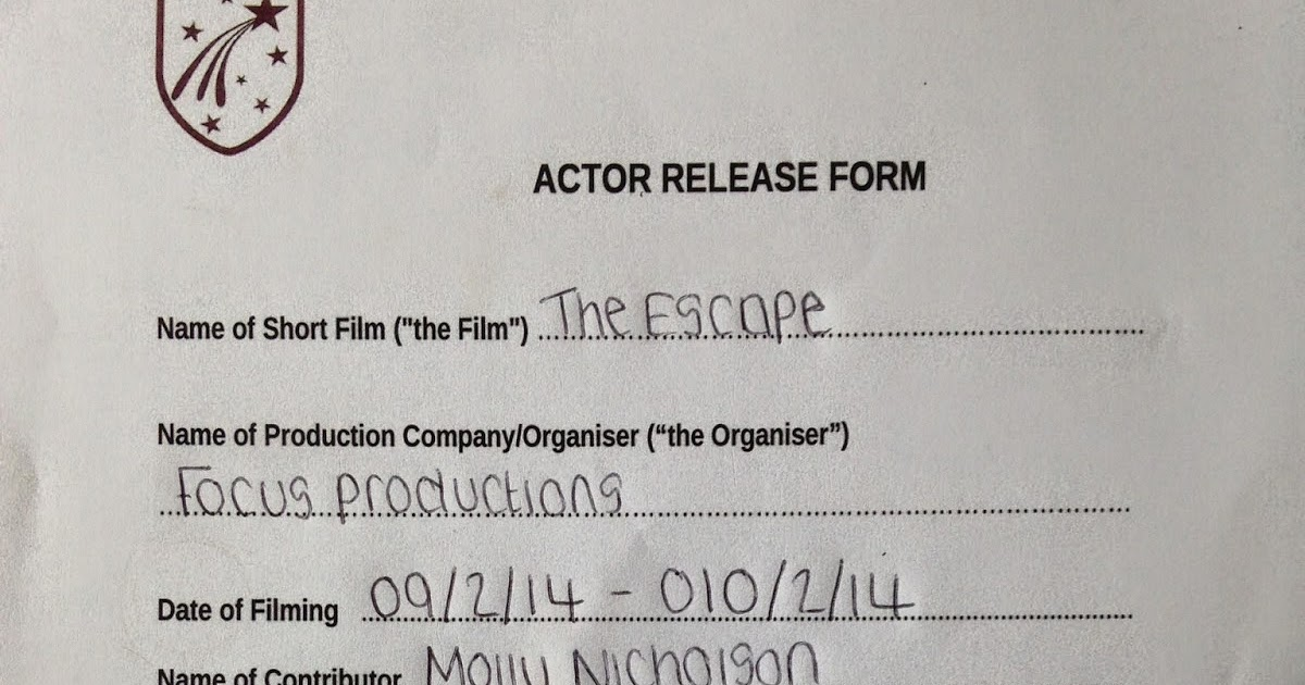 Amy Wordley-Smith As Media Blog 2014: Actor Release Form