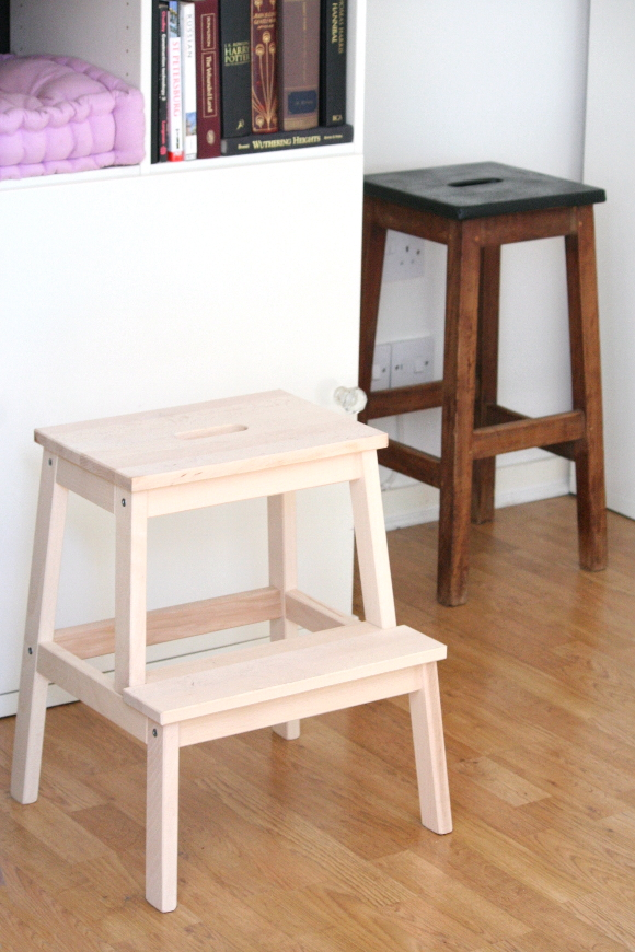 I did a lot of head scratching and googleing of IKEA hacks and I eventually decided to paint them light grey with black dip-dye legs. & The Interior DIYer: Step stool saga islam-shia.org