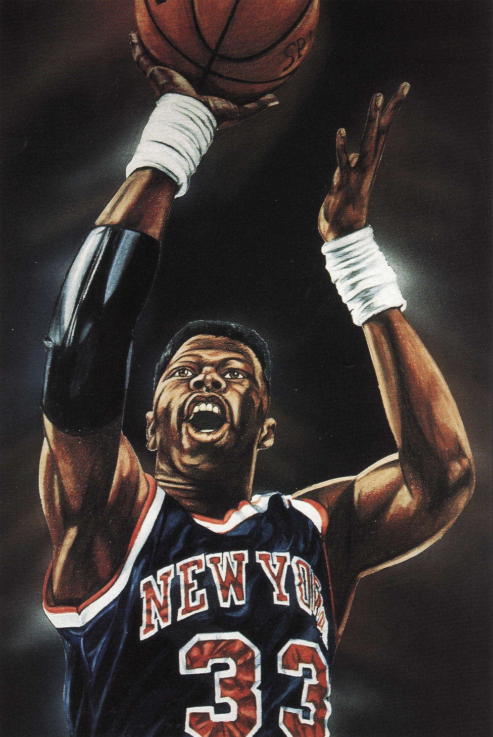 Patrick Ewing painting from Beckett Basketball Monthly