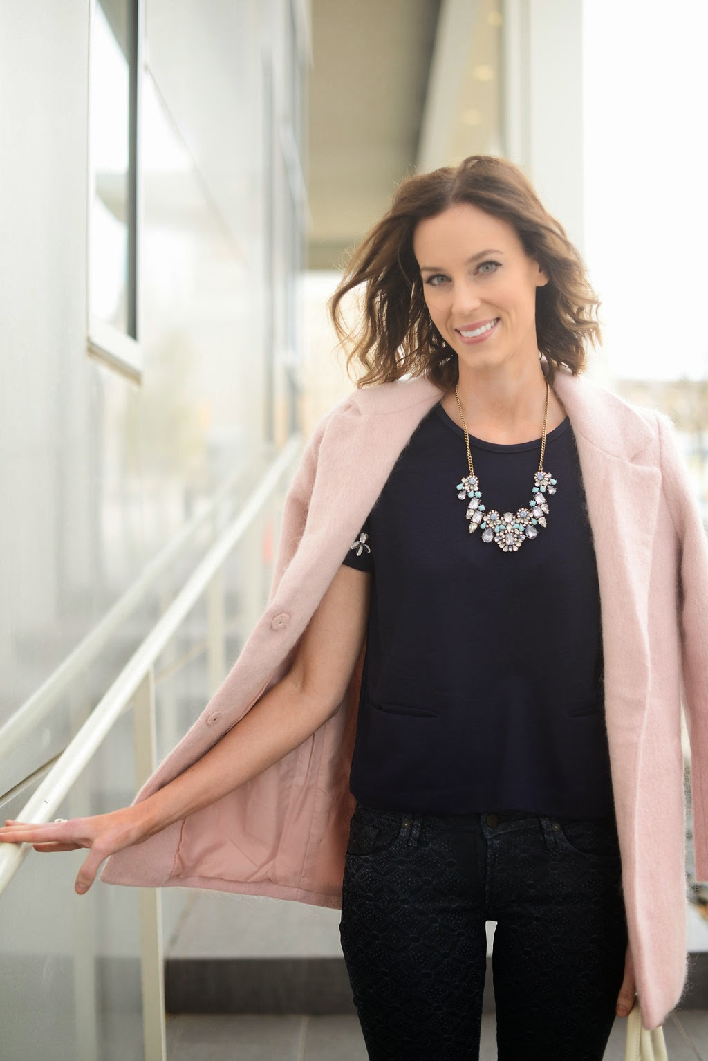 Piperlime moments of chic, navy jeans, pink coat