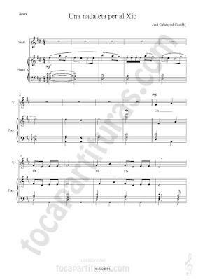Partitura de Piano Acompañamiento a dos manos y Partitura de Voz para coro infantil por José Calatayud Partitura del Villancico Nana Una Nadaleta Per Al Xic Piano Sheet Music & Voice
