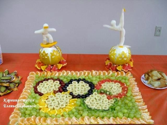 фруктовое блюдо с олимпийской символикой