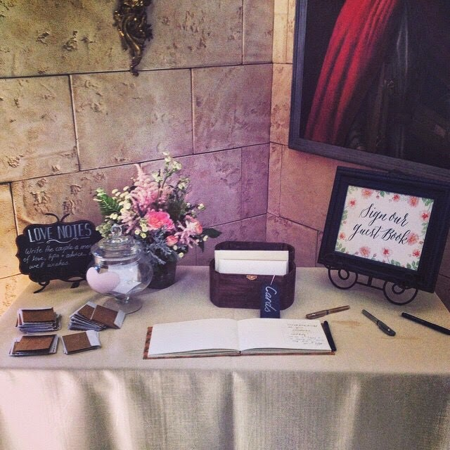 Hand bound wedding guest book at Castle Cliff Estate in Colorado