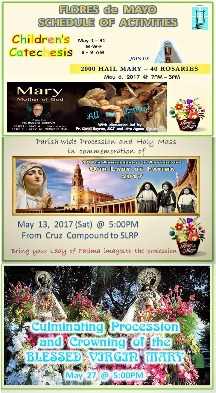Flores de Mayo 2017 Calendar of Events