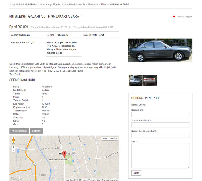 Deskripsi Mitsubishi Galant V6 Th 95