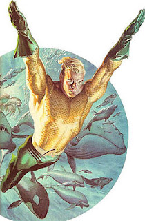 Aquaman with fish background