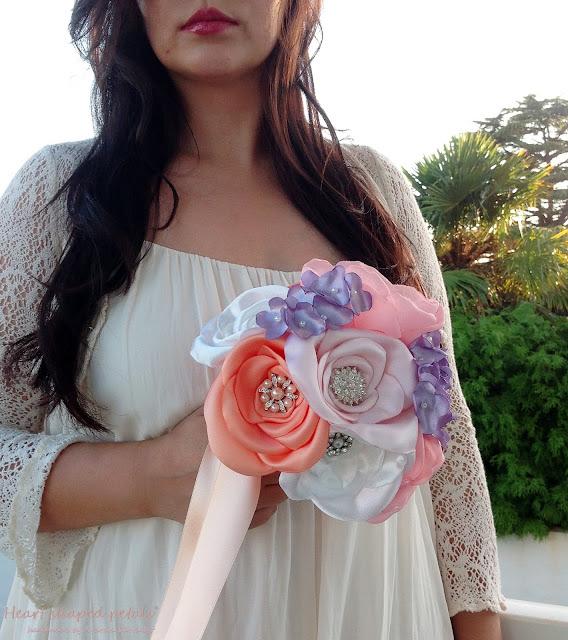 fabric flower bouquet pearls rhinestones