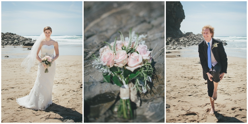 Bride and groom and wedding flowers