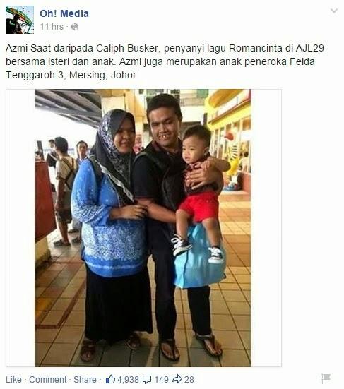 Foto isteri dan anak Azmi Saat dari Caliph Buskers, info, terkini, hiburan, sensasi, Azmi Saat Caliph Buskers, Caliph Buskers
