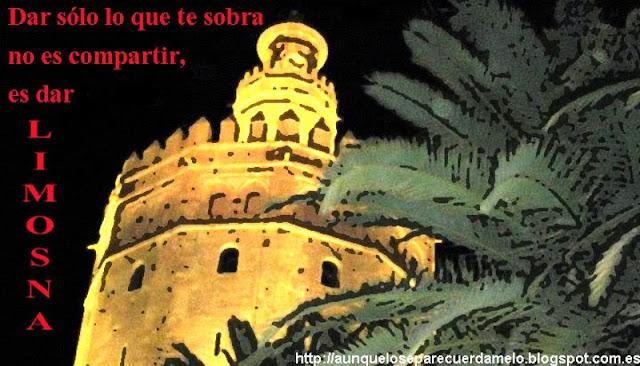 ilustracion de torre del oro de sevilla con frase de cancion de alejandro sanz referente a limosnas