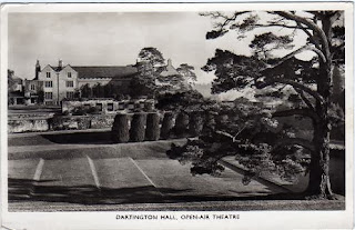 Vintage postcard of the Open Air Theatre. Dartington Hall, Devon